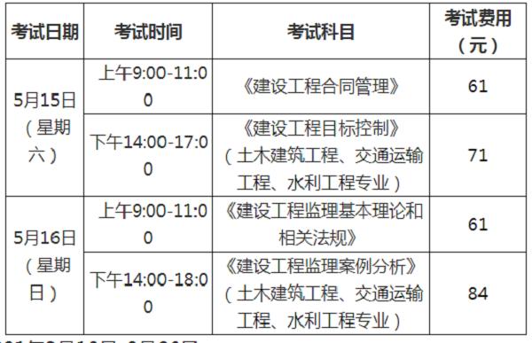 福建2021年监理工程师考试时间.png