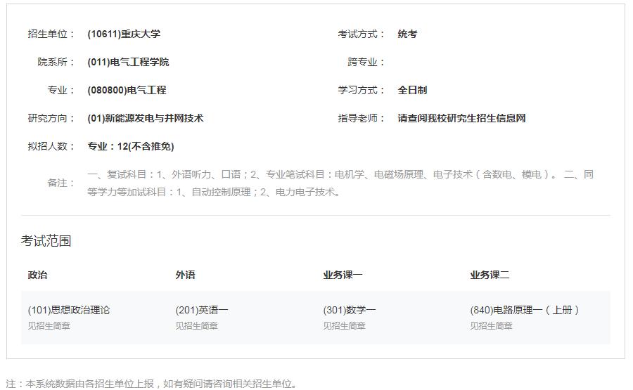 2022重庆大学电气工程考研科目